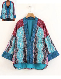 Fashion Blue+red Color-matching Decorated Kimono