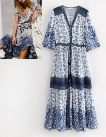 Fashion Blue V Neckline Design Flower Pattern Dress