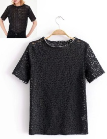 Fashion Black Hollow Out Design Lace Decorated T-shirt