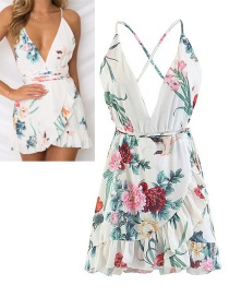 Fashion White Flower Pattern Decorated Backless Dress