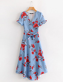 Fashion Blue V Neckline Design Flower Pattern Dress