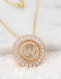 Fashion Gold Color W Letter Shape Decorated Necklace