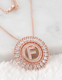 Fashion Rose Gold F Letter Shape Decorated Necklace