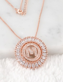 Fashion Rose Gold M Letter Shape Decorated Necklace