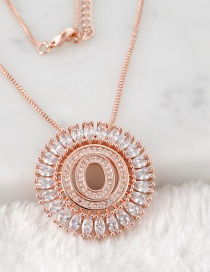 Fashion Rose Gold O Letter Shape Decorated Necklace