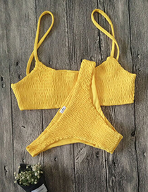 Sexy Yellow Pure Color Decorated Suspender Bikini