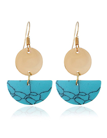 Fashion Blue Semicircle Shape Design Earrings