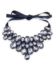 Fashion Gray Full Diamond Decorated Necklace