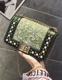 Fashion Green Flower Pattern Decorated Bag