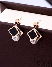 Fashion Rose Gold Square Shape Decorated Earrings