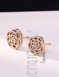 Fashion Rose Gold Flower Shape Decorated Earrings