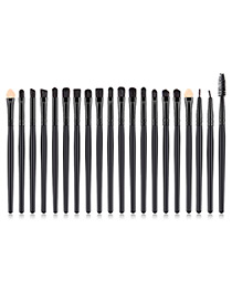 Fashion Black Pure Color Decorated Makeup Brush (20 Pcs )