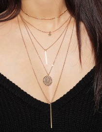 Fashion Gold Color Star&flower Shape Decorated Necklace
