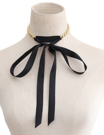 Fashion Black Pure Color Decorated Choker