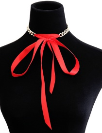 Fashion Red Pure Color Decorated Choker