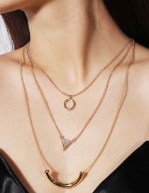 Fashion Gold Color Triangle Shape Decorated Necklace
