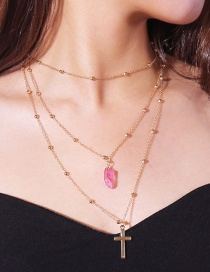 Fashion Plum Red+gold Color Cross Shape Decorated Necklace