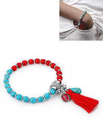 Fashion Blue+red Tassel Decorated Bracelet