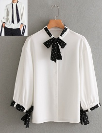 Fashion White Bowknot Pattern Decorated Shirt