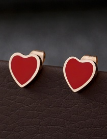 Fashion Rose Gold+red Heart Shape Decorated Earrings