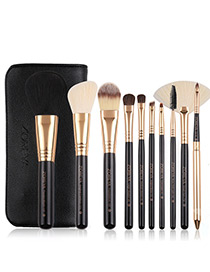 Fashion Black Sector Shape Decorated Makeup Brush (10 Pcs )