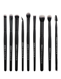 Fashion Black Pure Color Decorated Makeup Brush (9 Pcs )