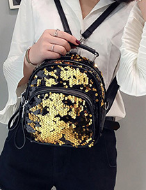 Fashion Gold Color Pure Color Decorated Backpack