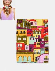 Fashion Multi-color House Pattern Decorated Scarf