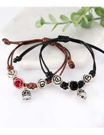 Fashion Black+coffee Flower Shape Decorated Bracelet (2 Pcs )