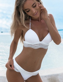 Sexy White Pure Color Decorated Swimwear