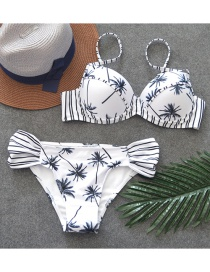Fashion White Tree Pattern Decorated Swimwear