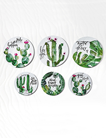 Fashion Green+white Cacti Pattern Decorated Ornament Tray