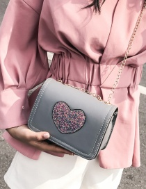 Fashion Gray Heart Shape Decorated Shoulder Bag
