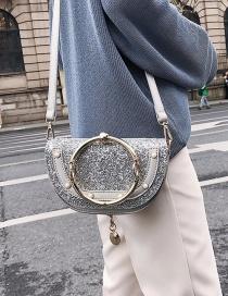 Fashion Silver Color Semicircle Shape Decorated Handbag
