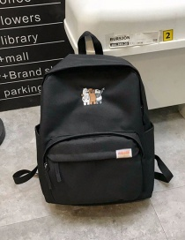 Fashion Black Bear Pattern Decorated Backpack