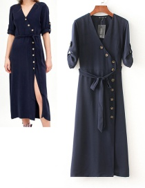 Fashion Navy V Neckline Design Long Sleeves Dress