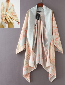 Fashion Beige Flowers Pattern Decorated Loose Kimono