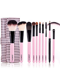Fashion Pink+black Color Matching Decorated Cosmetic Brush(10pcs With Bag)