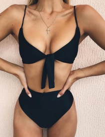 Sexy Black Pure Color Decorated Split Bikini