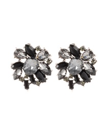 Fashion Black Oval Shape Diamond Decorated Pure Color Earrings