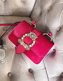Fashion Plum Red Flower Shape Decorated Shoulder Bag