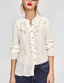 Fashion White Pure Color Decorated Long Sleeves Shirt