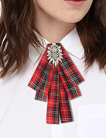 Fashion Red Grid Pattern Decorated Bowknot Brooch