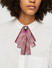 Fashion Claret Red Stripe Pattern Decorated Bowknot Brooch