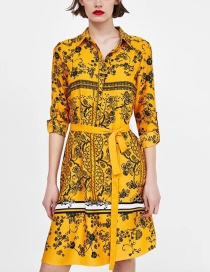 Fashion Yellow Flower Pattern Decorated Long Sleeves Dress