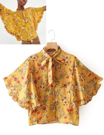 Fashion Yellow Flowers Pattern Decorated Simple Blouse