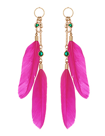 Fashion Plum Red Feather&letter Decorated Long Earrings