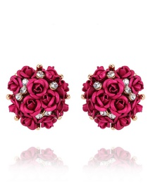 Elegant Plum Red Rose Shape Decorated Simple Earrings