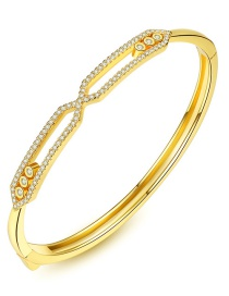 Fashion Gold Color Diamond Decorated Hollow Out Bracelet