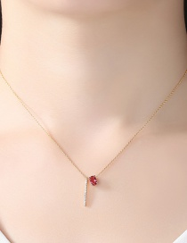 Fashion Champagne+red Vertical Shape Pendant Decorated Necklace
